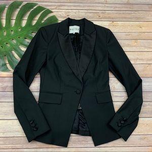 Reiss solid black tuxedo style blazer jacket